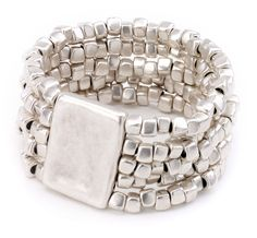 Multi strand elastic nugget bead bracelet. Vintage Turkish collection zinc alloy silver plated