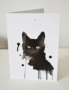 Black cat print 5 x 7 art greeting card small wall by artillia