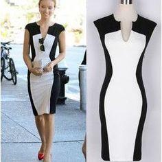 Vestido, fantasía de verano Vestidos Celebrity negro y blanco Patchwork mujeres elásticos del lápiz de algodón Casual S-XL lyq60