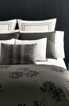 Chic grey and white bedding by Vera Wang