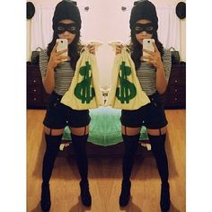 Bank robber done right. What you need: It's all about the black. Make sure everything from your hat to bottoms is dark.  Source: Instagram user nikkisanjuan