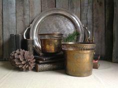 Vintage Brass Planter Pot Vase-Set of 2
