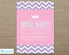 Princess Invitation - Princess Printable - Crown - Chevron - Pink Birthday - Girl Birthday Invitation - Printable Party - Pink- Purple via Etsy