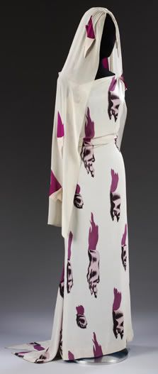 Elsa Schiaparelli  Tear Evening Dress 1938 Fabric designed by Salvador Dalí. Viscose rayon and silk blend