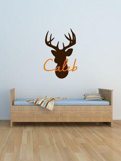 Custom Name & Buck Vinyl Decal Set - Vinyl Art Wall Decal, Home Decor, Buck Vinyl Sticker, Deer Decor, Hunting Bedroom Theme, Buck 22.5x33.5