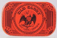 Old Glory Flat Pocket Tobacco Tin Pre-1900. Spaulding & Merrick, Chicago.