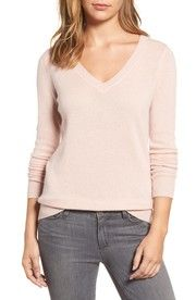 pink v neck sweater   20 #winteroutfits to copy now #theeverygirl
