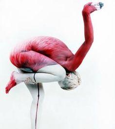 Un corps transformé en flamand rose/©Gesine Marwedel