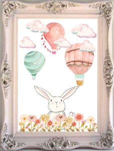 Bunny Rabbit Baby And Kids Room Wall Art Print, Hot Air Balloon Nursery Print   eBay