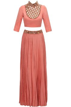 Peach mirror work crop top and pleated long skirt by Anaikka. Shop now:  http://www.perniaspopupshop.com/designers/anaikka #skirt #anaikka #shopnow #perniaspopupshop