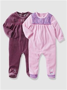 Lot de 2 pyjamas bébé velours  - vertbaudet enfant