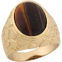 14k Yellow Gold Synthetic Tigers Eye Large Nugget Style Mens Ring * Read more  at the image link.