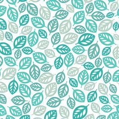 Blue Leaf Pattern grey aqua teal turquoise