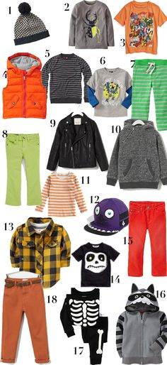 Spooky cute Halloween inspired looks for boys! Perfect for fall activities and parties!