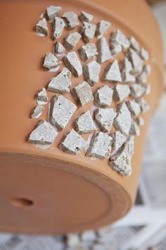 adhering tile to pot
