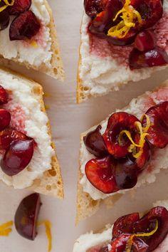 Sweet Cherry Lemon & Ricotta Crostinis