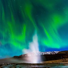 AuroraIceland by Ao Thor on 500px... #Geyser #Geysir #Iceland #arctic #aurora #aurora borealis #geisir #landscape #landscapes #night #northern lights