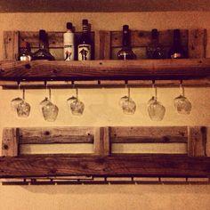 DIY Wine Rack DIY Liquor Shelf DIY Wine Glass holder Pallet Shelf Repurposed
