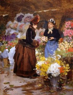 Maher Art Gallery: Victor-Gabriel Gilbert (French Academic Painter, 1847-1933) Flower Seller