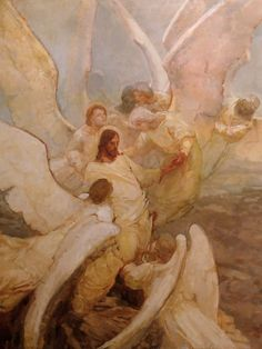 Kirk Richards 2015 Angels Ministered unto Him Art And Illustration, Illustrations, Catholic Art, Religious Art, Jesus Art, Jesus Christ, Lds Art, Jesus Painting, Biblical Art