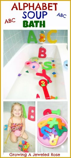 Alphabet Soup Bath- so simple and still so FUN!  A great way to sneak learning into play!