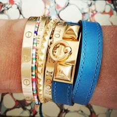 Marte Frisnes Bracelets, Simone, Isla and Story mixed with Cartier and Hermes