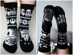 Knitted Star Wars socks Diy Crochet And Knitting, Knitting Charts, Loom Knitting, Knitting Socks, Baby Knitting, Knitting Patterns, Double Knitting, Mittens Pattern, Star Wars