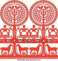 Polish Embroidery, Folk Embroidery, Scandinavian Quilts, Scandi Art, Cut Out Art, Polish Folk Art, Russian Folk Art, Pattern Art, Female Art