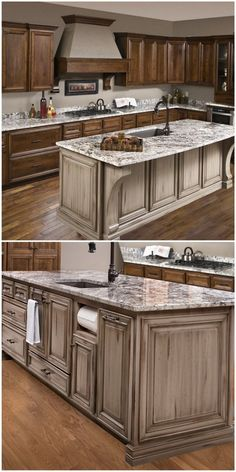 Notice the coordinating corbels on the hood and island in this dual-colored kitchen.