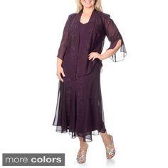 R&M Richards Women's Plus Size Caviar Beaded Detail 2-piece Dress