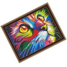 Colour Cat Cross Stitch Pattern Modern by ValentiCrossStitch