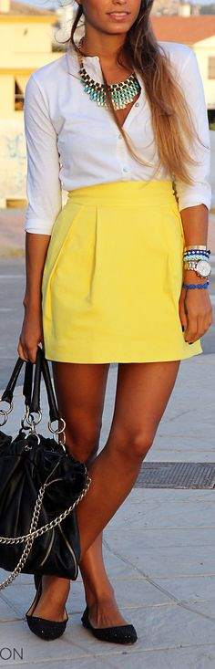 Beautiful - if it was a knee length skirt it'd be great for work.