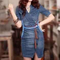 Женское джинсовое платье с коротким рукавом Slim Fit. Women's Short Sleeve Slim Fit Denim Dresses.