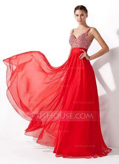A-Line/Princess V-neck Floor-Length Chiffon Prom Dress With Ruffle Beading Sequins (018005105)