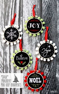 """Chalk"" Embroidery Mini Hoop Ornaments - adorable diy craft for the christmas tree"