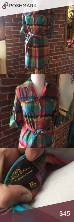 LL Bean Rainbow Plaid Shirt Dress Wear sleeves up or down (does have long sleeves), great colors and perfect for work or a hike! L.L. Bean Dresses