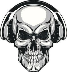 calavera dibujo: Ilustración del vector, cráneo humano escuchando música en los auriculares Vectores