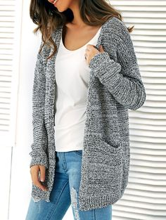 Twin Pockets Heathered Knitted Cardigan