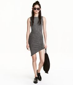 Check this out! Short, sleeveless, fitted jersey dress with an asymmetric hem. - Visit hm.com to see more.