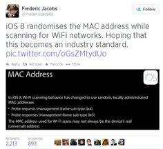una característica en iOS 8 que aigna en forma aleatoria la dirección MAC cuando el dispositivo trata de conectarse a una red WiFi, protege la privacidad de los usuarios.