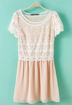 Light Pink Short Sleeve Lace Embroidery Chiffon Dress US$34.10