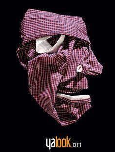"""[1/6] Serie de gráficas de Yalook que recrea caras con sus productos: piezas de ropa; para dar así inicio a las """"Fashion Faces'"""