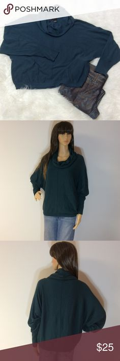 """NEW DIRECTIONS TEAL DOHLMAN SLEEVE SWEATER Very pretty and super soft and comfy. Dohlman sleeves and a cowl neck. Wear dressy or casual. Gently used condition. Length 22.5"""" new directions Sweaters Cowl & Turtlenecks"""