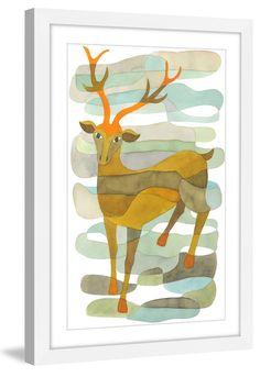 Foil Art Print~Affordable Art~8x10 Animal DEER Matted Buck Doe /& Fawn
