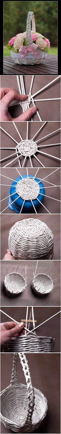 DIY Newspaper Tubes Weaving Basket | iCreativeIdeas.com Follow Us on Facebook --> https://www.facebook.com/icreativeideas