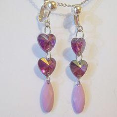 CLIP ON 2in PURPLE HEART Acrylic  Handmade Non-Pierced Dangle Drop Earrings Z339 #Handmade #DropDangle