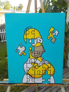Popartrazziastudio: Homer simpson Puzzled canvas painting by Popartraz. Disney Canvas Art, Small Canvas Art, Mini Canvas Art, Diy Canvas, Funny Paintings, Cute Canvas Paintings, Canvas Painting Tutorials, Toile Disney, Desenhos Halloween