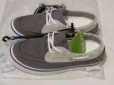 Crocs RARE Hover canvas womens mens boat sneaker shoe M10 W12 charcoal unisex  #crocs #canvasboatshoes
