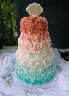 hombre rosette wedding cake aqua teal coral pink orange - www.facebook.com/blovestobake