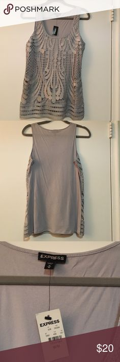 Express Silver Going-out Tank! NWT Express lace tank in silver.  Grey jersey lining and back.  Size M Express Tops Tank Tops